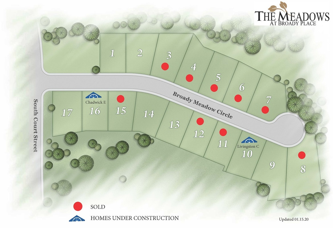The Meadows at Broady Place Plat Map