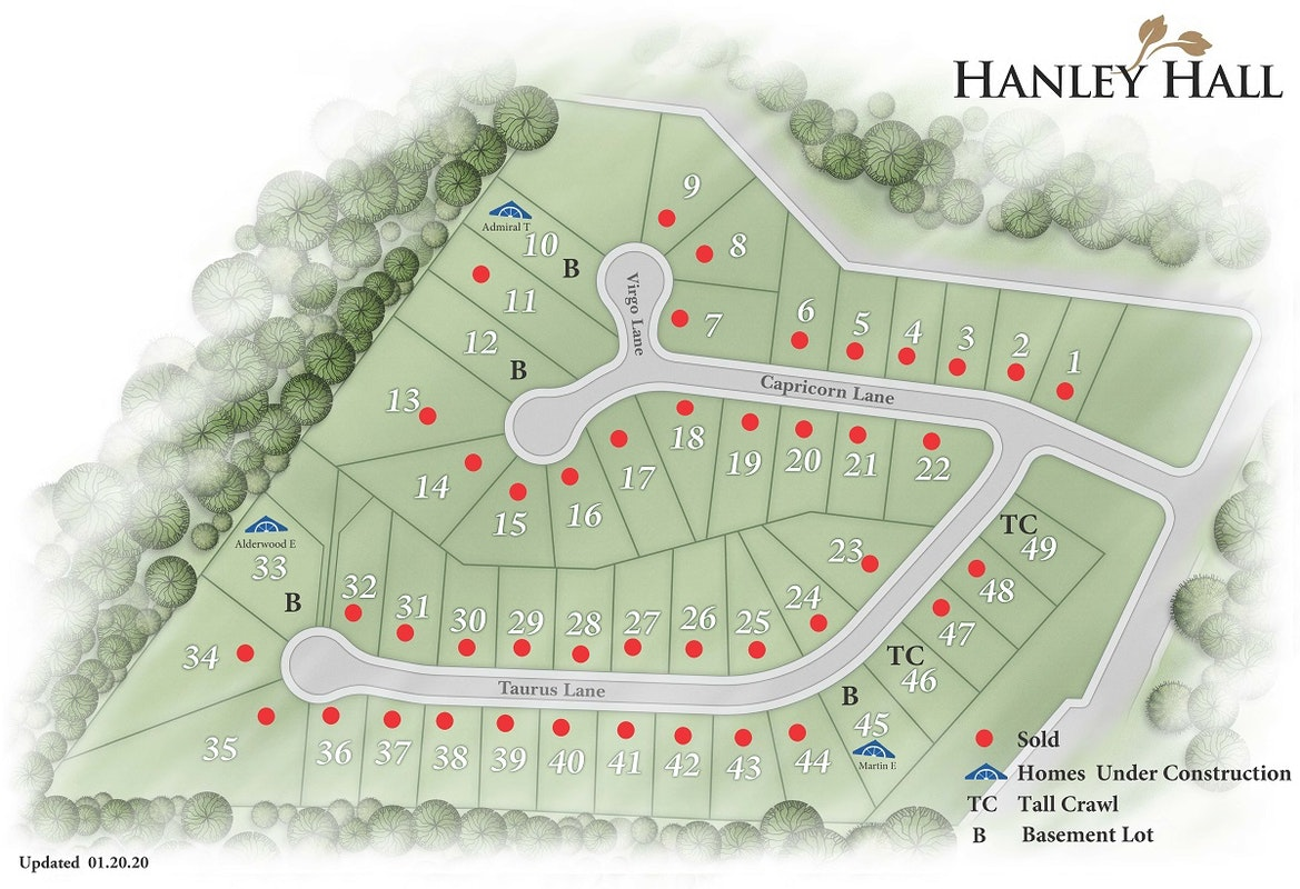 Hanley Hall Plat Map